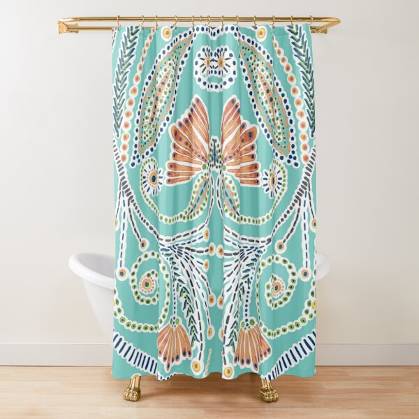 Turquoise and Apricot Paisley Pattern   Shower Curtain