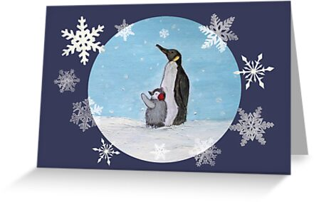 mum and baby penguin by emmaemuk