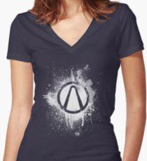 Vault Logo Splatter [V2] Women's Fitted V-Neck T-Shirt
