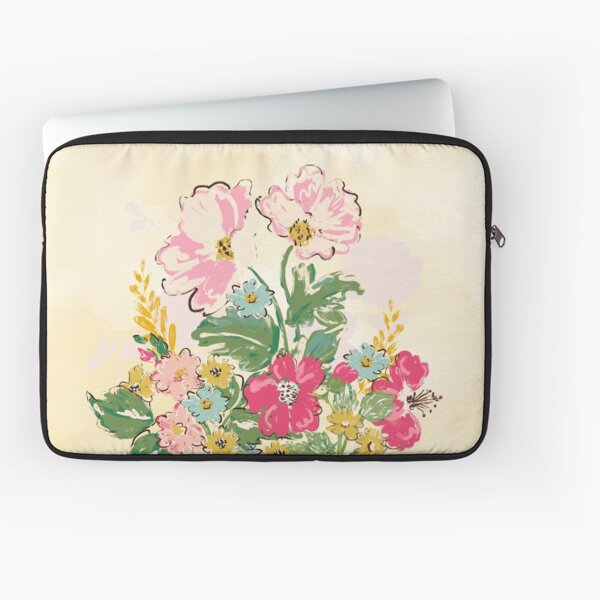 Whimsical Flowers, Hand Painted, Bright & Cheerful by Terri Conrad Designs Laptop Sleeve