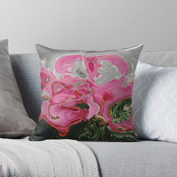 CONTEMPORARY FLOWER ART for the bold in Pink and lovely greens and greys Throw Pillow