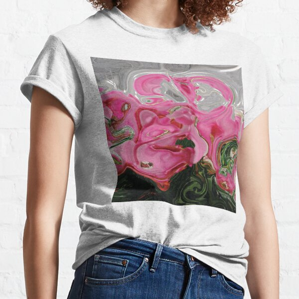 CONTEMPORARY FLOWER ART for the bold in Pink and lovely greens and greys Classic T-Shirt