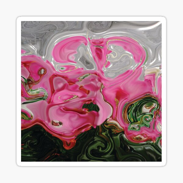CONTEMPORARY FLOWER ART for the bold in Pink and lovely greens and greys Sticker