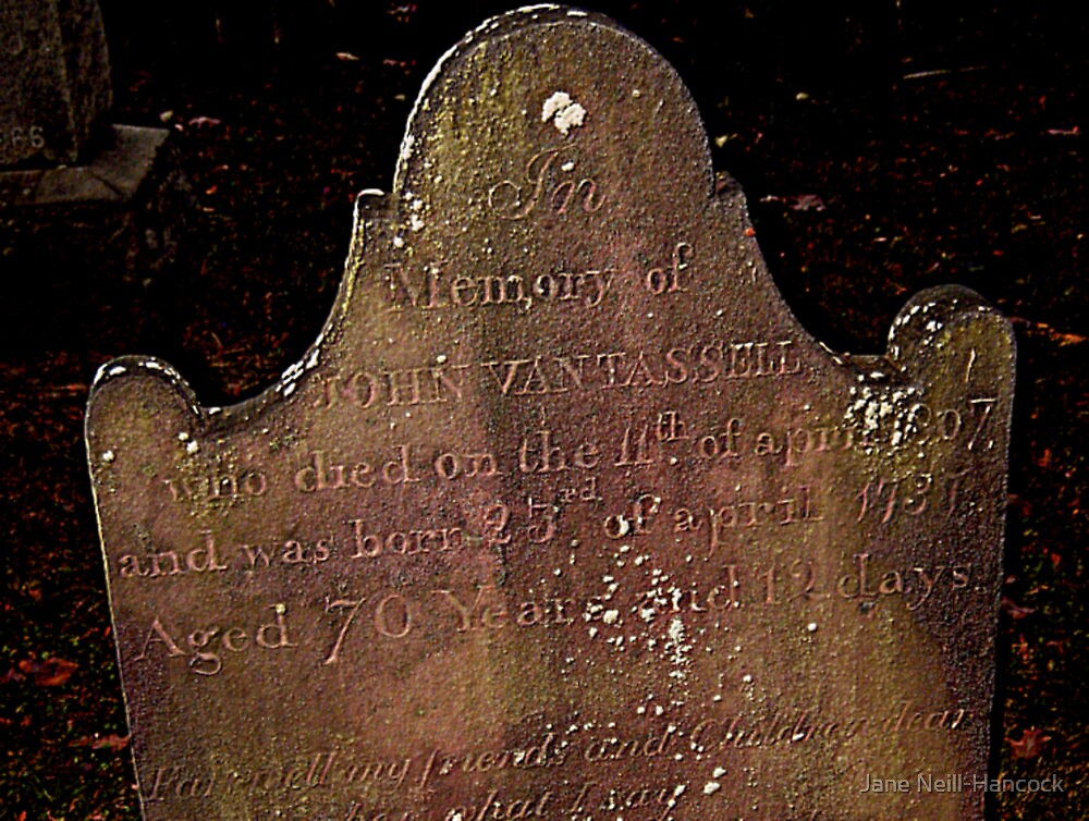 John Van Tassell's Headstone, Sleepy Hollow Cemetery by Jane Neill-Hancock