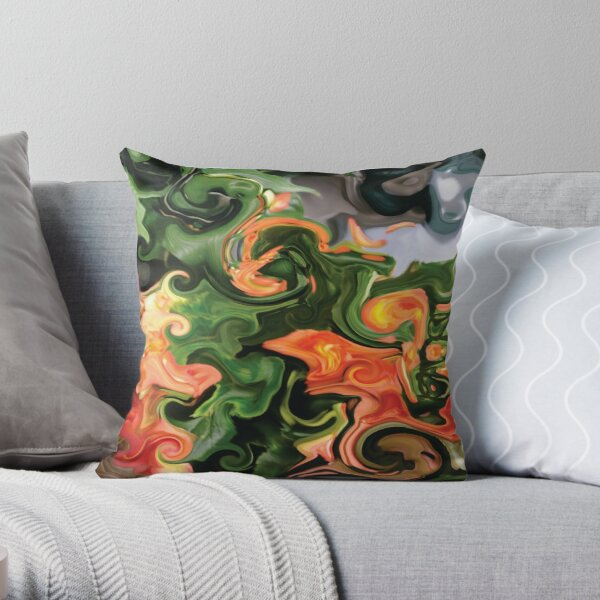 CONTEMPORARY FLOWER ART for the bold in green and oranges  Throw Pillow