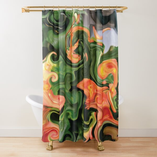 CONTEMPORARY FLOWER ART for the bold in green and oranges  Shower Curtain