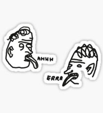 David Shrigley style 'Ahhh' and 'Errr' illustrations for stickers Sticker