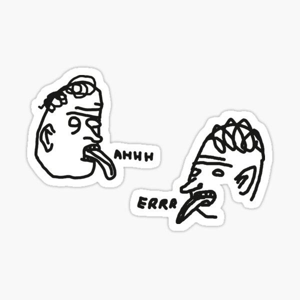 """David Shrigley Stil """"Ahhh"""" und """"Errr"""" Illustrationen für Aufkleber Sticker"""