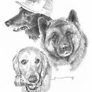 Dog siblings drawing by Mike Theuer
