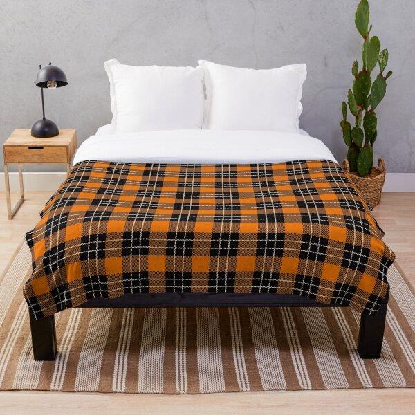 Black & Tangerine Tartan Throw Blanket