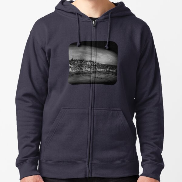 Black and White Version of the Pittenweem Pumpkin Zipped Hoodie