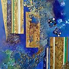 Gold columns sinking into oceanic Blue by nexus7