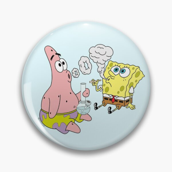 Spongebob and Patrick Smoking Weed Cannabis Cartoon Art Pin