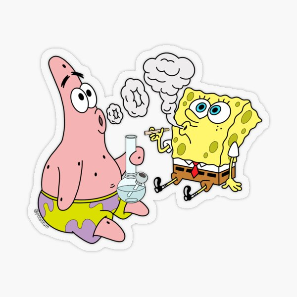 Spongebob and Patrick Smoking Weed Cannabis Cartoon Art Transparent Sticker