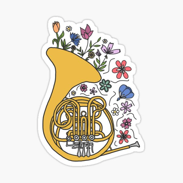 Floral French Horn Sticker