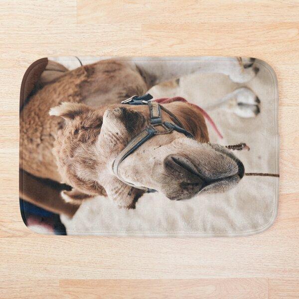Camel in the desert Bath Mat