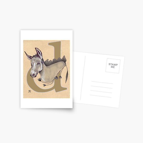 D is for DONKEY Postcard