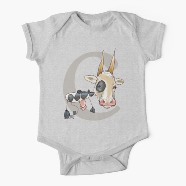 C is for COW Short Sleeve Baby One-Piece