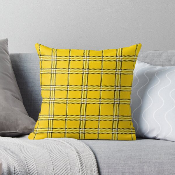 Yellow Plaid Pattern Throw Pillow