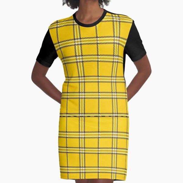 Yellow Plaid Pattern Graphic T-Shirt Dress