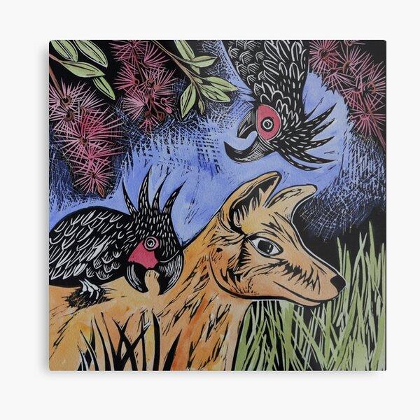 Cockatoos and Dingo Metal Print