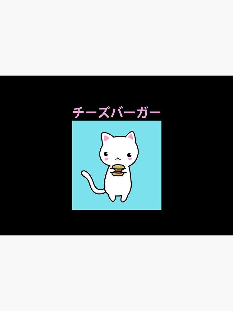 Cheeseburger Kitty Cat   Vaporwave Kitten   Kawaii by Kittyworks
