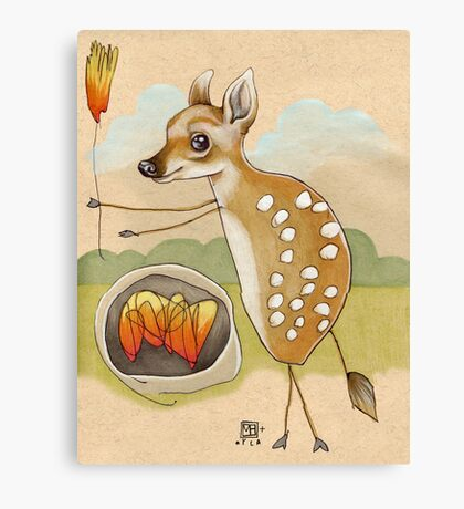Camping Deer Canvas Print