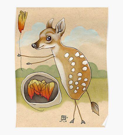 Camping Deer Poster