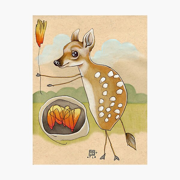 Camping Deer Photographic Print