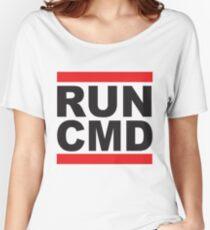 Run Command Black Text Women's Relaxed Fit T-Shirt