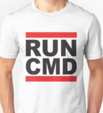 Run Command Black Text T-Shirt