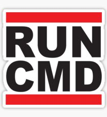 Run Command Black Text Sticker