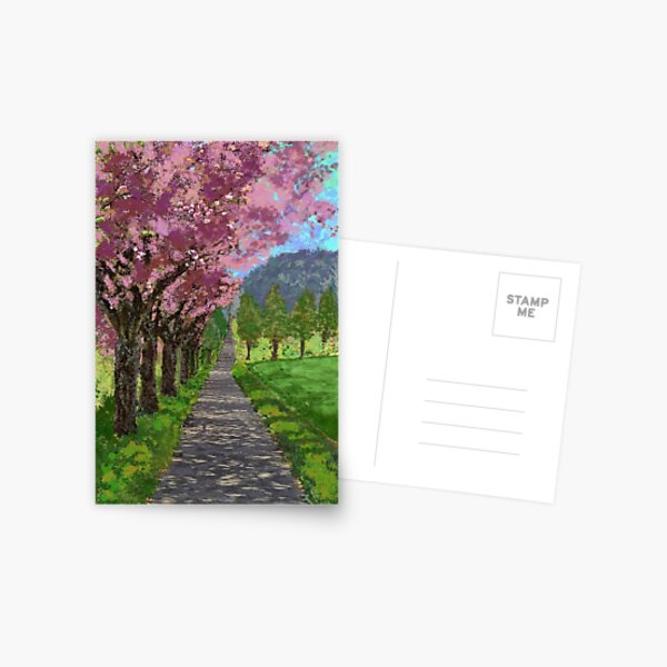 Path and Pink - Image to symbollically widen a hallway or staircase Postcard
