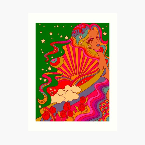 Psychedelic Lady Art Print