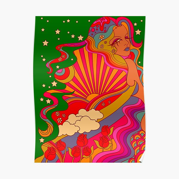 Psychedelic Lady Poster