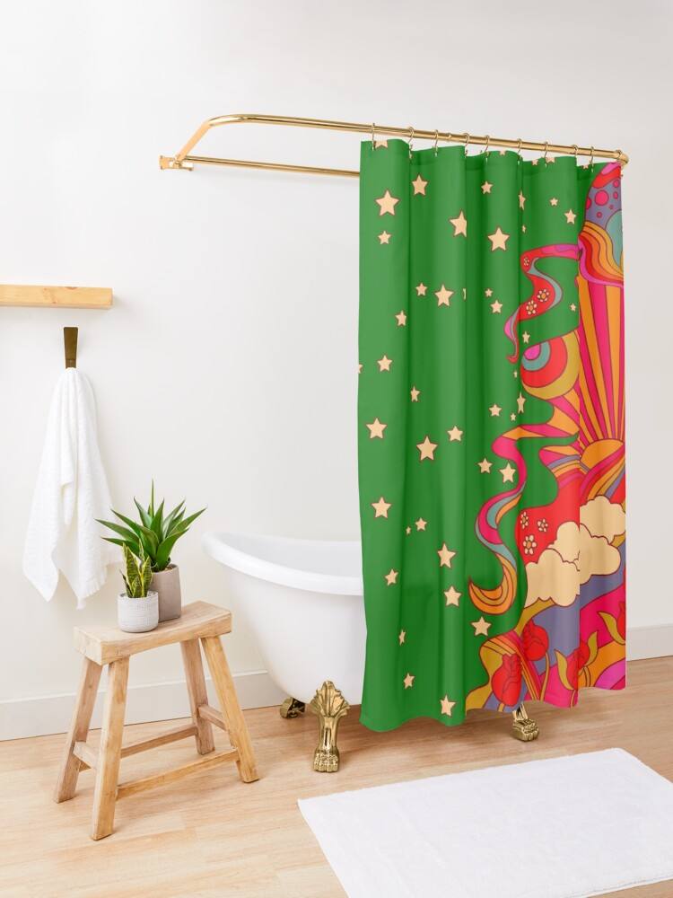 Alternate view of Psychedelic Lady Shower Curtain