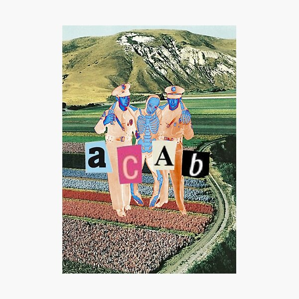 acab cops carrying skeleton collage Photographic Print