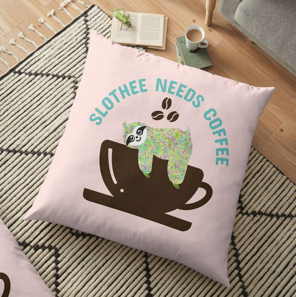 Slothee needs coffee Floor Pillow