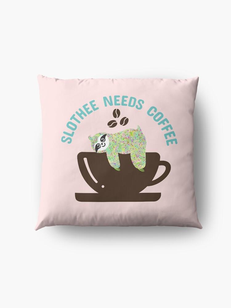 Alternate view of Slothee needs coffee Floor Pillow