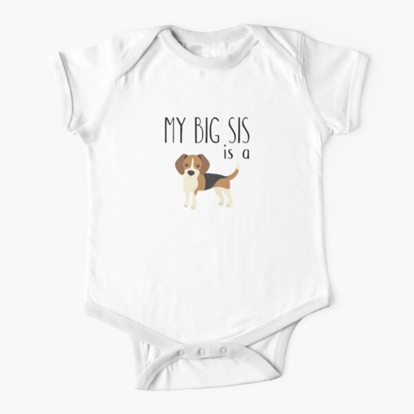 my big sis is a beagle Short Sleeve Baby One-Piece