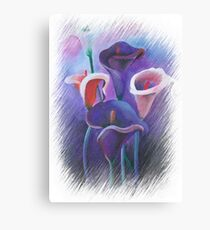 Purple Callas With Fringed Edge Border Canvas Print