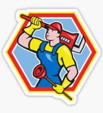 Plumber Holding Plunger Wrench Cartoon Sticker