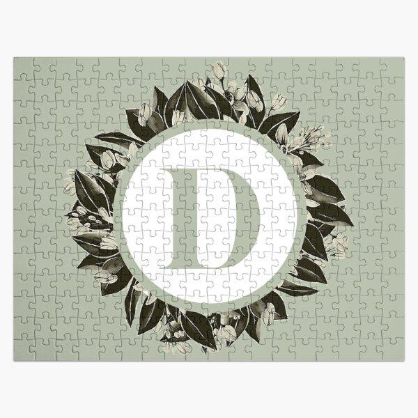 Floral alphabet in sage color - letter D Jigsaw Puzzle