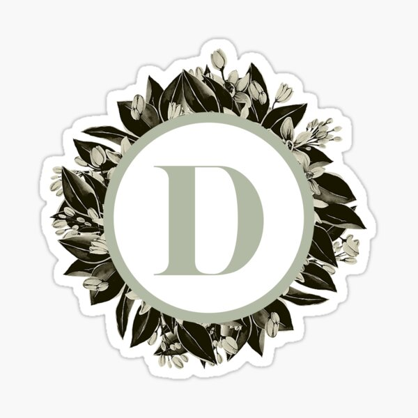 Floral alphabet in sage color - letter D Sticker