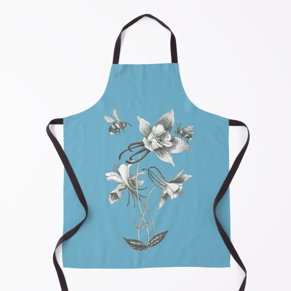 bees on mountain flowers with turquoise blue background Apron