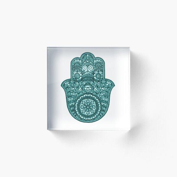 Neon Hamsa Hand - turquoise Acrylic Block