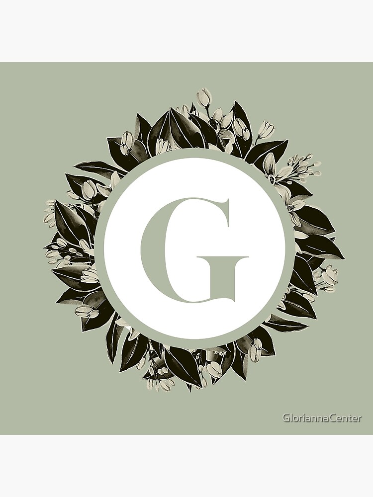 Floral alphabet in sage color - letter G by GloriannaCenter