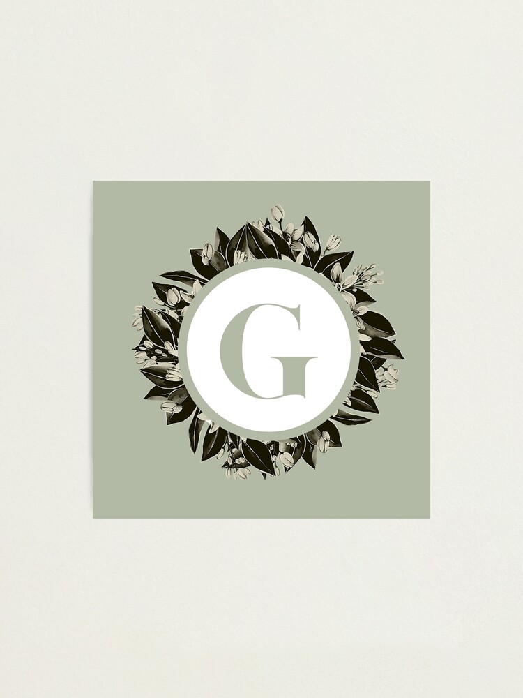 Alternate view of Floral alphabet in sage color - letter G Photographic Print