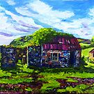 In the Townland of Gortnagory, Glencloy, County Antrim., Oil and acrylic on box canvas, 10 x 12 inch by Laura Butler