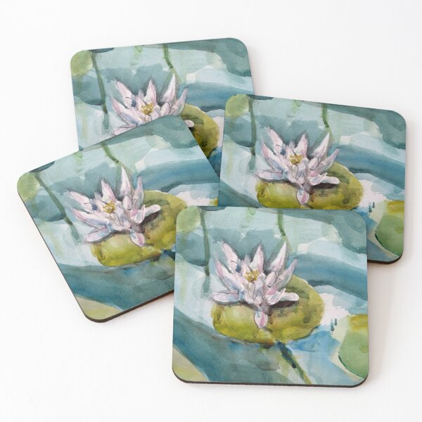 White waterlily Coasters (Set of 4)